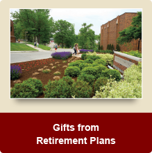 Rollover image of walkway on campus. Link to Gifts of Retirement Plans.